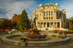 Parte trasera del palacio en Victoria, Canadá del parlamento fotografía de archivo