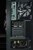 Parte trasera moderna de la caja del ordenador con los puertos Foto de archivo libre de regalías