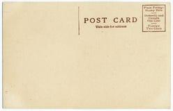 Parte trasera vieja de la postal Foto de archivo