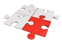 A parte vermelha do enigma de serra de vaivém está para fora do conceito diferente da multidão Imagem de Stock