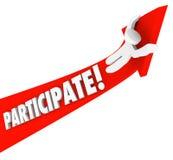 Partecipa la freccia Person Riding Participation a successo Immagini Stock
