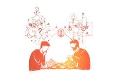 Partecipando al torneo di scacchi, giocante gioco da tavolo con il pensiero analitico e logico dell'amico, illustrazione di stock