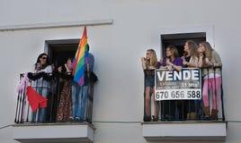 Partecipanti ai balconi Immagini Stock