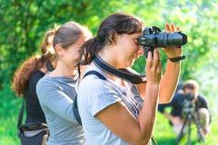 Partecipanti al corso di fotografia Fotografia Stock