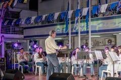 Partecipanti del brass band della città della città di Nahariya stan Immagini Stock Libere da Diritti