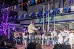 Partecipanti del brass band della città della città di Nahariya stan Immagini Stock