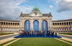 Partecipanti della sommità di alleanza militare di NATO a Bruxelles immagine stock libera da diritti