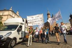 Partecipanti di marzo per la liberazione della cannabis Immagine Stock Libera da Diritti