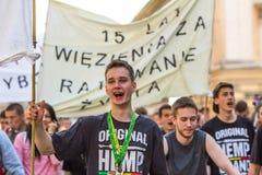 Partecipanti di marzo per la liberazione della cannabis Fotografie Stock Libere da Diritti