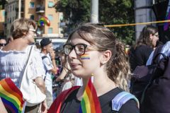 Partecipate da menina no orgulho de lazio em Roma imagem de stock royalty free