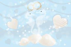 Partecipazione di nozze con gli ippocampi e gli anelli Fotografie Stock