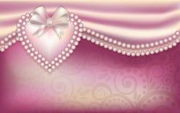 Partecipazione di nozze con i cuori della perla Immagine Stock
