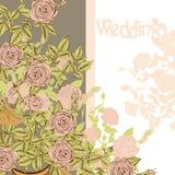 Partecipazione di nozze con le rose disegnate a mano illustrazione di stock