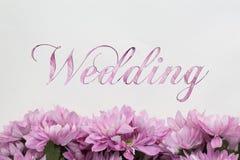 Partecipazione di nozze con progettazione dei fiori Fotografia Stock Libera da Diritti