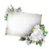Partecipazione di nozze con progettazione floreale bianca Immagine Stock Libera da Diritti
