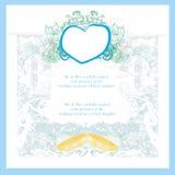 Partecipazione di nozze d'annata con gli anelli Immagine Stock