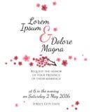 Partecipazione di nozze dell'invito con il vettore di sakura illustrazione vettoriale