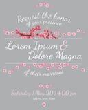 Partecipazione di nozze dell'invito con il vettore di sakura illustrazione di stock