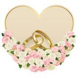 Partecipazione di nozze di vettore con gli anelli royalty illustrazione gratis