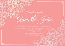 Partecipazione di nozze - la struttura floreale della rosa dell'argento ed il vecchio modello rosa di vettore del fondo progettan Fotografia Stock Libera da Diritti