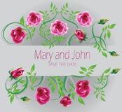 Partecipazione di nozze Maria e John Le rose rosa decorano Immagini Stock