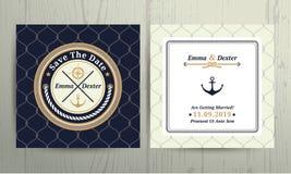 Partecipazione di nozze nautica della corda su fondo a rete Fotografia Stock Libera da Diritti