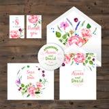 Partecipazioni di nozze con gli elementi floreali dell'acquerello Immagini Stock Libere da Diritti