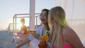 Partei auf dem Strand, Jungefrauen stehen auf Strand, reiche Ferienfreundinnen still stock video footage