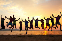 Partei auf Sonnenuntergang lizenzfreies stockbild