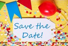Partei-Aufkleber, roter Ballon, Text-Abwehr das Datum Stockbilder