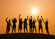Partei bei Sonnenuntergang Lizenzfreies Stockbild