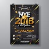 Partei-Feier-Plakat-Schablonen-Illustration des neuen Jahr-2018 mit glänzender Goldzahl auf schwarzem Hintergrund Vektor-Feiertag stock abbildung