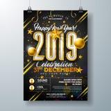 Partei-Feier-Plakat-Schablonen-Illustration des neuen Jahr-2019 mit Glühlampe-Zahl und Goldweihnachtsball auf Schwarzem lizenzfreie abbildung