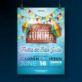 Partei-Flieger-Illustration Festa Junina mit Typografiedesign auf Weinleseholzbrett Flaggen und Papierlaterne auf blauem Himmel vektor abbildung