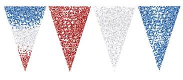 Partei Garland Set Dreieck-Form-Flaggen Drei Farbkonfetti-Oberfläche stock abbildung