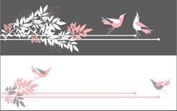 Partei-Karten-Entwurf mit Blumen und Streifen Stockbilder