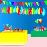 Partei mit bunten Flaggen, Ballone, Geschenke, Getränk und Kuchen - vector Parteikonzept Lizenzfreies Stockfoto