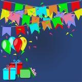 Partei mit bunten Flaggen, Ballonen und Geschenken - Parteikonzeptvektor Lizenzfreie Stockbilder
