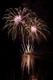 Partei mit bunter Feuerwerksshow Stockbilder