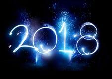 Partei mit 2017 Feuerwerken - neues Jahr-Anzeige! Lizenzfreie Stockfotografie