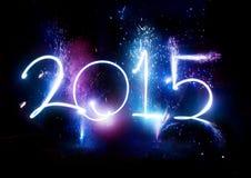 Partei mit 2015 Feuerwerken - neues Jahr-Anzeige! Lizenzfreie Stockfotografie