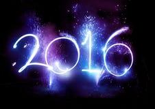 Partei mit 2016 Feuerwerken - neues Jahr-Anzeige! Stockbild