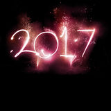 Partei mit 2017 Feuerwerken - neues Jahr-Anzeige! Stockbild