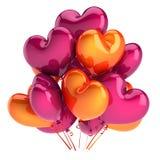 Partei steigt das rosa orange geformte Herz des Bündels im Ballon auf vektor abbildung