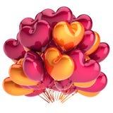 Partei steigt geformte Orange des Bündels rotes Herz im Ballon auf vektor abbildung
