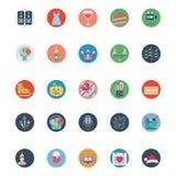 Partei-und Feier-farbige Illustrations-Vektor-Ikonen stock abbildung