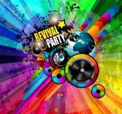 Partei-Verein-Flieger für Musikereignis mit Explosion von Farben Lizenzfreie Stockfotos