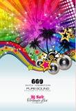 Partei-Verein-Flieger für Musikereignis mit Explosion von Farben Stockfoto
