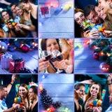 Parteicollage des neuen Jahres bestanden aus verschiedenen Bildern stockbild