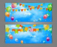 Parteifahne mit Flaggen und Ballons Lizenzfreies Stockbild
